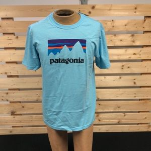 Patagonia men shop sticker tee Cuban blue
